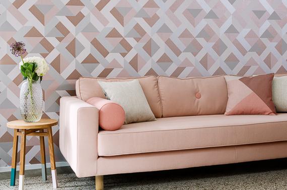 Gentle groove behang roze geometrische vormen